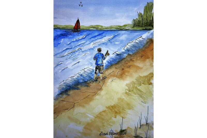 beach walking along the shore, seascape, watercolor painting