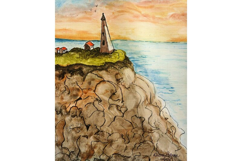 Newfoundland cliff, seascape, lighthouse painting