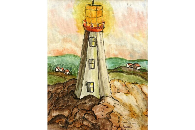 Newfoundland lighthouse original watercolor painting