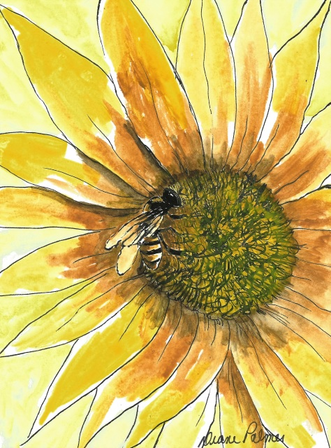 Bees Honey Bee Sunflower Yellow Flower Ink And